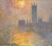 Evening (oil On Canvas) By Monet Framed Prints - The Houses of Parliament at Sunset Framed Print by Claude Monet