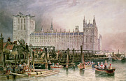Old Houses Painting Posters - The Houses of Parliament in Course of Erection Poster by John Wilson Carmichael
