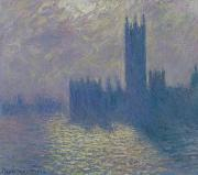 1904 Prints - The Houses of Parliament Stormy Sky Print by Claude Monet