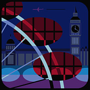 London England  Digital Art - The Houses Of Parliament, The Millennium Wheel And Big Ben, London, United Kingdom by Nigel Sandor