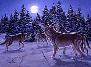 Moonlight Painting Prints - The Howling Print by Richard De Wolfe