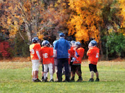 Football Coach Photos - The Huddle by Susan Savad