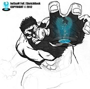 Sketchbook Drawings Prints - The Hulk 2 Print by Hossam Fox