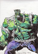 Hulk Drawings - The Hulk by Andrew Tuff