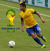 Neymar Junior Posters - The Hulk Kicking Fifa 2014 Poster by Lee Dos Santos