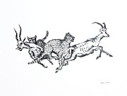 Ink Drawings - The hunt by Mario  Perez