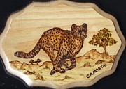 Mammal Pyrography Prints - The Hunt of the Cheetah Print by Clarence Butch Martin