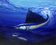 Scuba Paintings - The Hunt by Sandra Camper