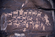 Carvings Prints - The Hunt Scene- Ancient Pueblo-anasazi Print by Ira Block