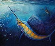 Swordfish Pastels Prints - The Hunt Print by Susan Jenkins