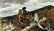 Stump Framed Prints - The Hunter and his Dogs Framed Print by Winslow Homer