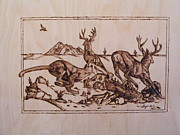 Elk Pyrography Posters - The Hunter-Big predators-cougar 1 pyrography study Poster by Egri George-Christian