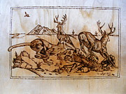 Log Cabin Art Pyrography - The Hunter -Big predators cougar and deers-pyrography original by Egri George-Christian