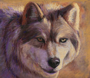 Wolf Pastels Posters - The Hunter Poster by Billie J Colson