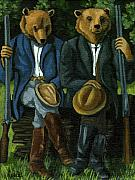 Linda Apple Originals - The Hunters - bears painting by Linda Apple