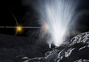 Outburst Prints - The Ice Fountains Of Enceladus Print by Ron Miller