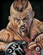 Ufc Drawings - The Iceman Knocks out a guys eye. by Chris Benice