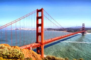 Sightseeing Digital Art Posters - The Iconic San Francisco Golden Gate Bridge . 7D14507 Poster by Wingsdomain Art and Photography