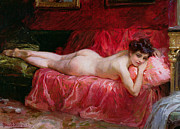 Red Female Nude Paintings - The Idle Hour by Daniel Hernandez