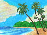 Island Art Pastels Prints - The Idyllic Beach Print by William Depaula