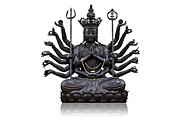 Isolated  Sculpture Posters - The images of Guanyin black Poster by Tosporn Preede