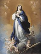 Christianity Painting Prints - The Immaculate Conception  Print by Bartolome Esteban Murillo