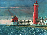 Lighthouses Paintings - The Impending Storm by LeAnne Sowa
