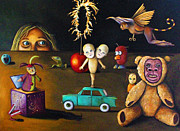 Humor Painting Prints - The Incredible Creepy Toy Collection Print by Leah Saulnier The Painting Maniac
