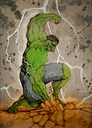 Hulk Mixed Media Framed Prints - The Incredible Hulk Framed Print by Lee  Ah yen