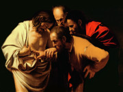 Savior Painting Prints - The Incredulity of Saint Thomas Print by Caravaggio