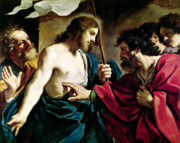 Incredulity Paintings - The Incredulity of Saint Thomas by Guercino