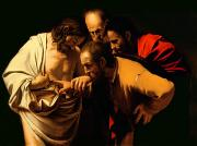 Religion Painting Framed Prints - The Incredulity of Saint Thomas Framed Print by Michelangelo Merisi da Caravaggio