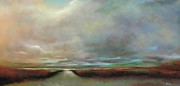 Landscapes Drawings Originals - The Inlet by Frances Marino
