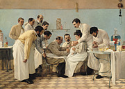 Medicine Painting Posters - The Insertion of a Tube Poster by Georges Chicotot
