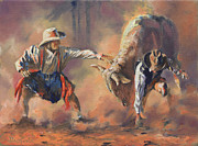 Rodeo Bulls Posters - The Insurance Man Poster by Mia DeLode