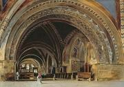 Basilica Of St Francis Posters - The Interior of the Lower Basilica of St. Francis of Assisi Poster by Thomas Hartley Cromek
