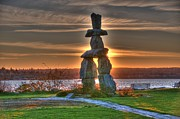 Inukshuk Art - The Inukshuk At English Bay by Lawrence Christopher