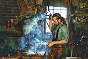 Hot Iron Prints - The Iron Man- Blacksmith Print by Joann Vitali