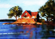 Lake House Metal Prints - The Island House Metal Print by Russell Pierce