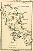 Vintage Map Painting Prints - The Island of Martinique Print by Guillaume Raynal