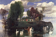 Swans Paintings - The Island of the Living by Arnold Bocklin