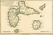 Vintage Map Drawings - The Islands of Guadeloupe by Guillaume Raynal