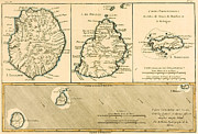 Globe Drawings Framed Prints - The Islands of Rodriguez Isle de France and Bourbon Framed Print by Guillaume Raynal