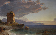 Ruin Painting Metal Prints - The Isle of Capri Metal Print by Jasper Francis Cropsey