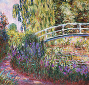 Flowers Flower Framed Prints - The Japanese Bridge Framed Print by Claude Monet
