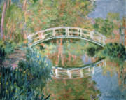 Grasses Framed Prints - The Japanese Bridge Framed Print by Claude Monet