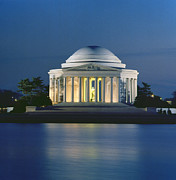 Nighttime Framed Prints - The Jefferson Memorial Framed Print by Peter Newark American Pictures