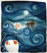 Jellyfish Drawings Framed Prints - The Jellyfish Affair. Framed Print by Bea Torreadrado