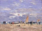 Beach Scenes Posters - The Jetty at Deauville Poster by Eugene Louis Boudin