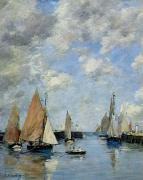 Sail Boats Framed Prints - The Jetty at High Tide Framed Print by Eugene Louis Boudin